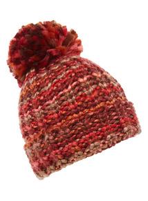 Striped Knit Pom Pom Hat