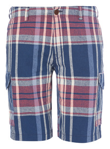 Navy Madras Check Cargo Shorts
