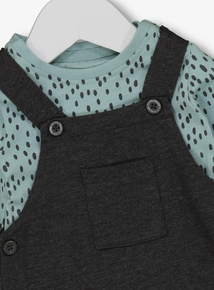 Grey Dungarees With Green Leopard Print Body