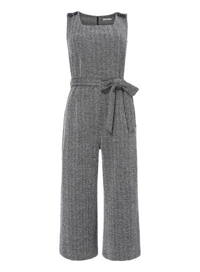 Textured Tie Waist Jumpsuit