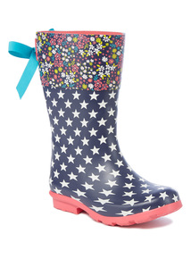 Multicoloured Floral and Star Print Wellies