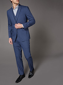 Blue Textured Stretch Suit Trousers