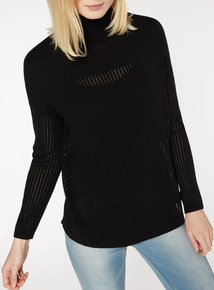 Roll Neck Pointelle Jumper