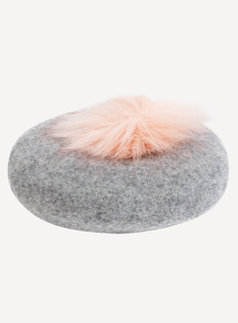 Grey Beret With Pink Pom-Pom (3- 9 years)