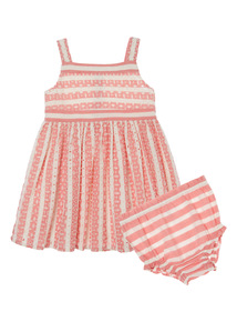 Pink striped dress and knickers (0 - 24 months)