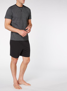Black Stripe Tee With Shorts Set