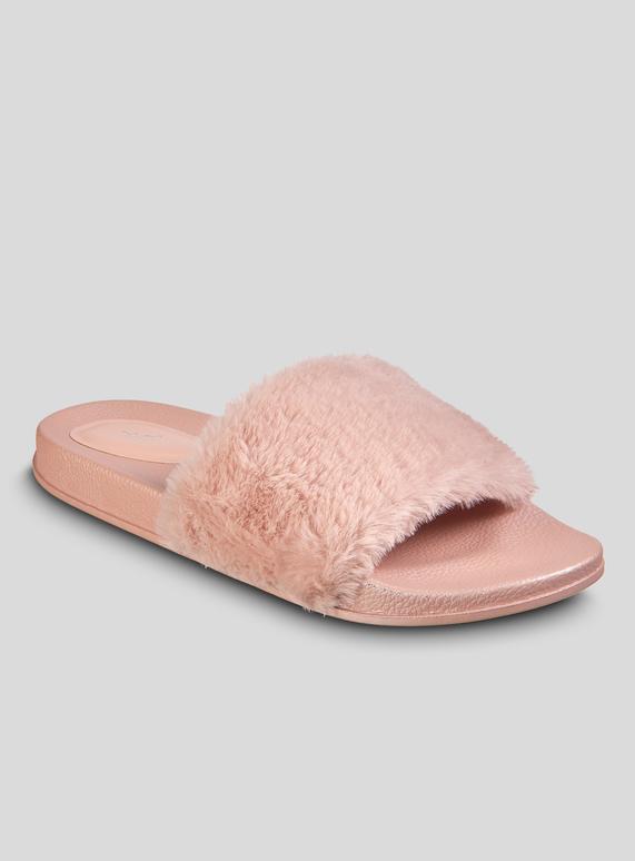 56c497c6d71a Womens Pink Faux Fur Sliders