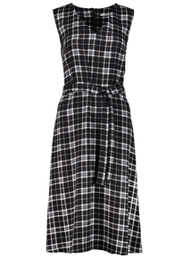 Monochrome Tartan V-Neck Ribbon Tie Dress