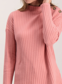 Dusky Pink Brushed Rib Long-Sleeved Top