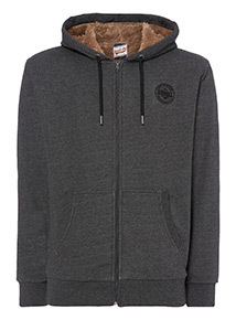Russell Athletic Charcoal Borg Lined Hoodie