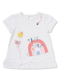 White Embroidered Frill T-Shirt (0-24 months)