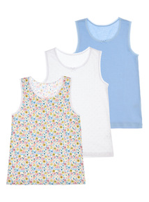 Multicoloured Flower Market Vest 3 Pack (2 - 10 years)