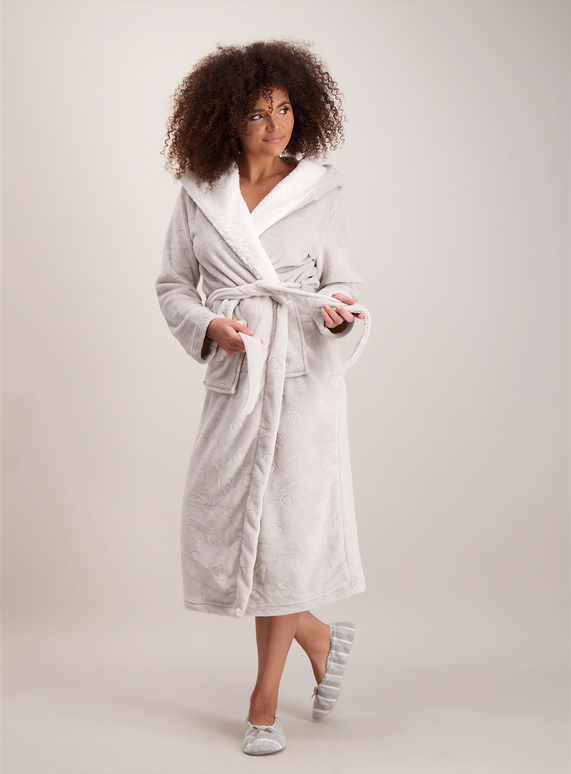 Womens Grey Heart Hooded Longline Dressing Gown Tu Clothing