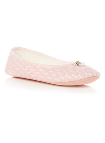 Pink Circle Texture Ballerina Slippers