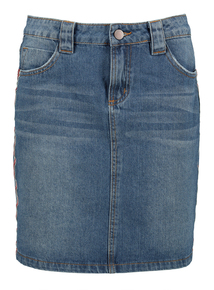 Blue Denim Mini Skirt With Side Stripe