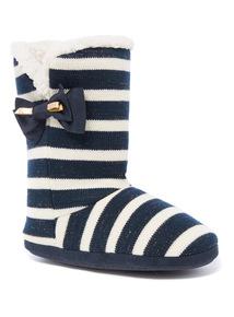 Stripe Knitted Slipper Boot