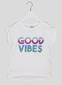 Cream 'Good Vibes' Slogan Short-Sleeved T-Shirt (3-14 Years)