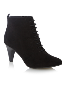 Black Microfibre Lace Up Ankle Boots