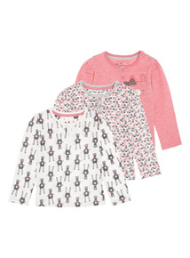 Girls Pink Bunny Tees (0-24 months) 3 Pack