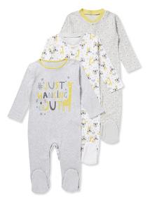 3 Pack Grey Sleepsuits (Newborn-24 months)