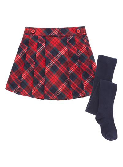 8ef73b8dbc0097 Kids Girls Red Pleated Checked Skirt with Tights (9 months-5 years) | Tu  clothing