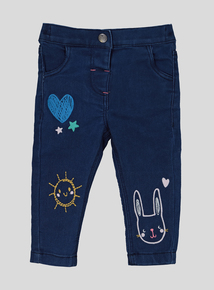 Blue Denim Doodle Time Embroidered Jeans (9 months- 6 years)