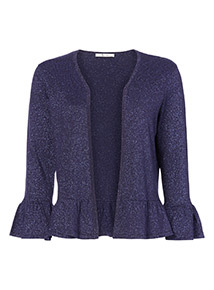 Peplum Hem Fluted Sleeve Cardigan