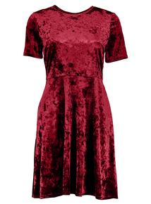 Berry Red Velvet Skater Dress