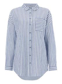 Blue Seersucker Striped Shirt
