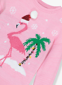 Pink Flamingo Christmas Jumper (3-14 years)