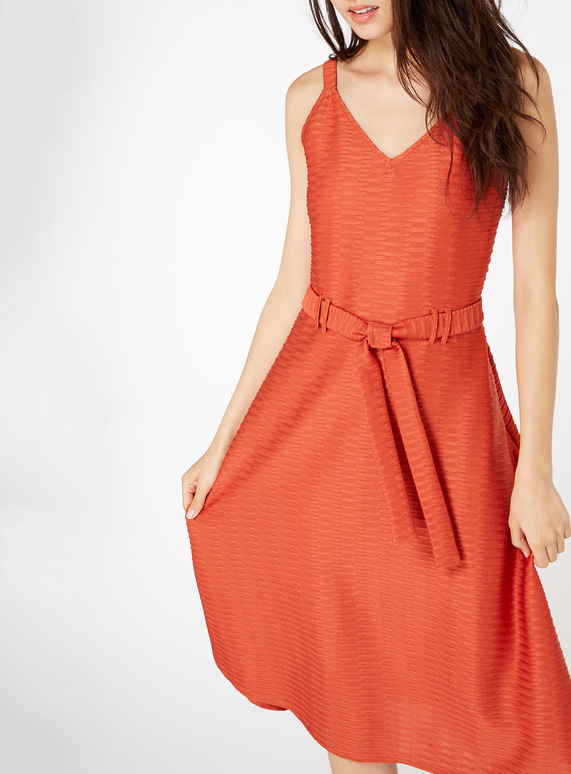 Orange Textured Belted Midi Dress