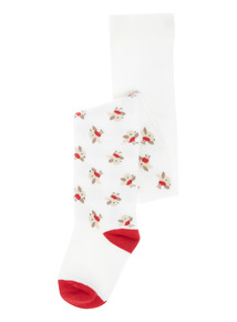 Unisex Cream Festive Single Cotton Rich Robin Tights (0 - 24 Months)