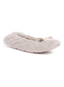 Beige Textured Ballerina Slippers