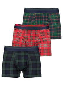 Christmas Multicoloured Tartan Hipsters 3 Pack
