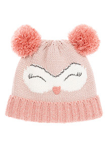 Pink Novelty Owl Knitted Hat (1-12 years)