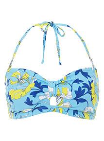 Flower Print Bandeau Bikini Top