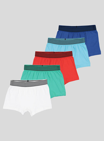 Multicoloured Striped Waistband Trunks With Stretch 5 Pack (4-14 years)