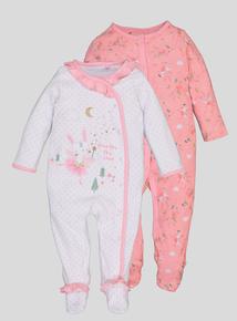 Pink Fairy Bunny Sleepsuits 2 Pack (Newborn -24 Months)