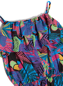Multicoloured Tropical Print Playsuit  (3-14 years)