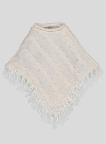 Cream Knitted Roll Neck Cape (One Size)