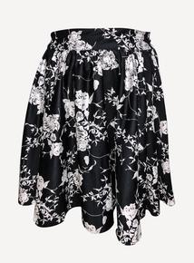 EMILY Black & White Ashley High Waist Swing Skirt