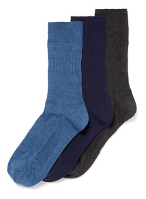 3 Pack Blue Comfort Top Socks