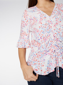 Multicoloured Frill Sleeve Printed Top