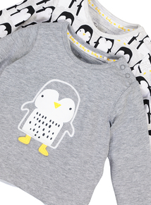 Grey Penguin Long Sleeve T-Shirt 2 Pack (0-24 months)