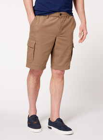 Online Exclusive Brown Canvas Cargo Shorts