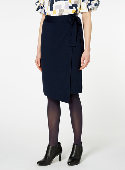 Navy Tie Front Pencil Skirt