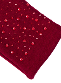 Red Pearl Effect Fabric Gloves