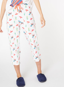 Cacti and Sombrero Print Cropped Pyjama Bottoms
