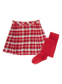 Red Pleated Check Skirt and Tights Set (9 months-6 years)