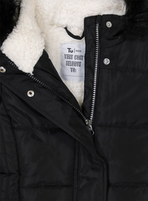 Black Puffer Hooded Coat (3 - 14 Years)
